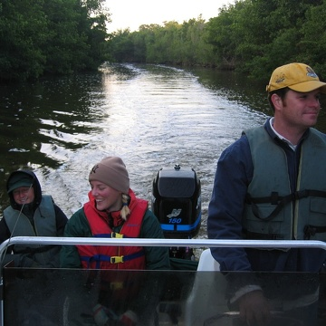 Left to right: Nicole Poret, Kim de Mutsert, Dan Bond arriving in Flamingo after a day of sampling