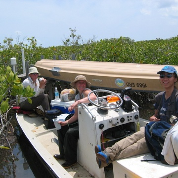 Left to right: Kim de Mutsert, Nicole Poret, and Sharon Ewe taking a break during sampling at TS/Ph-6b in Taylor Slough