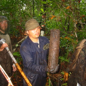 Left to right: Justin Baker, Arturo Saldivar, Edward Castaneda. Pulling core to determine standing crop (fine root biomass) in mangrove forest at SRS-4 in Shark River Slough