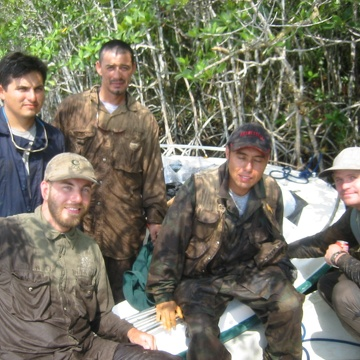Left to right: Arturo Saldivar, Justin Baker, , Edward Castaneda, Dan Bond. Break after setting ingrowth root cores inside the mangrove forest at SRS-6 in Shark River Slough