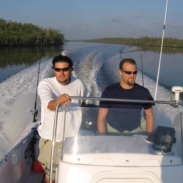 Bryan Delius (M.S. student) and Mike Heithaus going to their study sites, which occur from the mouth of the Shark River to 30 km upstream