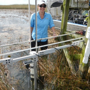Dr. Price measuring surface water flow at SRS-1 in Shark River Slough