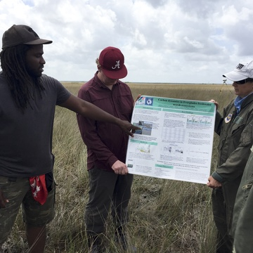 Dr. Justin Cummings presenting his field poster near TS/Ph-1b in Taylor Slough during the FCE LTER Mid-term Review field trip