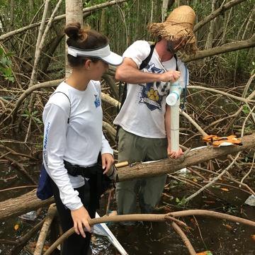 Sean Charles (FIU Ph.D. student) and Venus Garcia (FIU QBIC Undergraduate) collecting a soil core in Biscayne National Park.