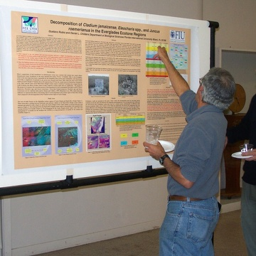 David Rudnick (L) and Gustavo Rubio (R) discussing Gustavo's poster at the 2003 Florida Coastal Everglades LTER All Scientists Meeting