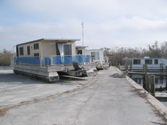 House boats at Flamingo pushed out of the water by Hurricane Wilma